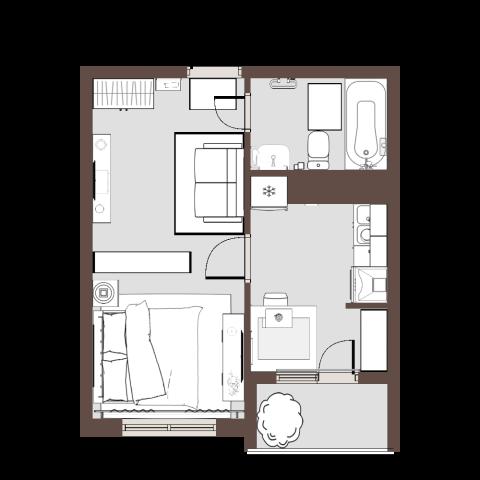 Verkleineter Grundriss der Wohnung