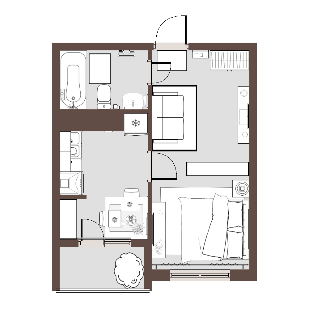 Уменьшенная планировка квартиры
